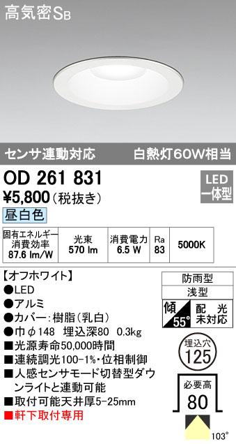 オーデリック 125φ 調光 白熱灯60W相当 OD261831 S他