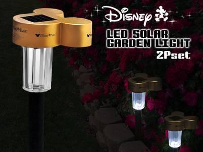 DisneyミッキーLEDガーデンソーラーライト 2個セット