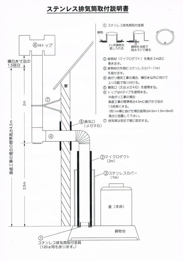 ステンレス排気筒(曲がり煙突工事用)120Φ