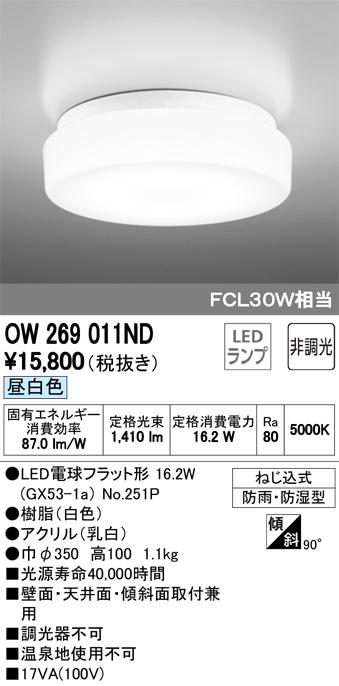 オーデリック FCL30Wクラス OW269011ND S他
